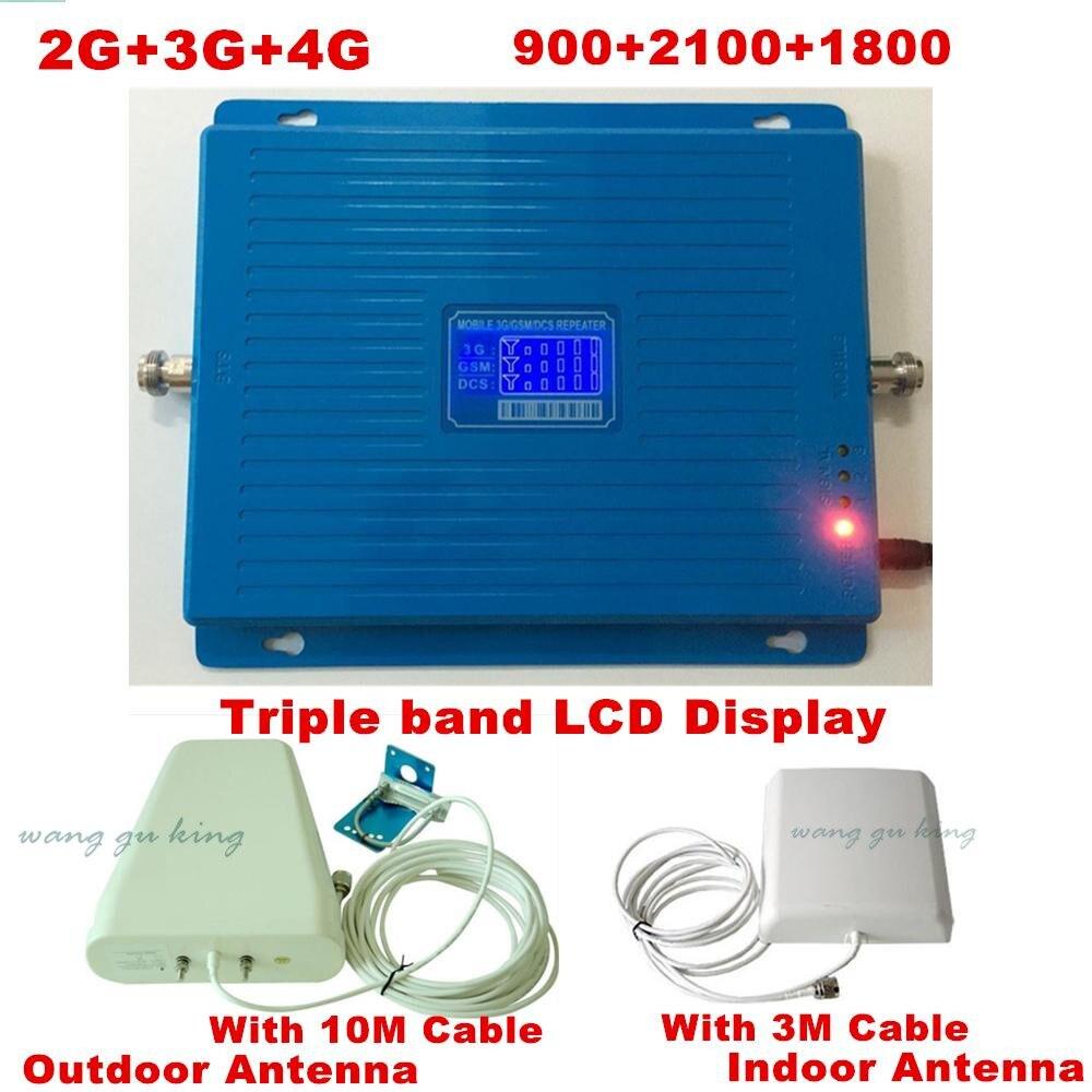 Tri-bande repetidor Tribande répéteur 2g 3g 4g LTE 900 1800 2100 MHz GSM DCS WCDMA mobile téléphone signal booster Celular amplificateur