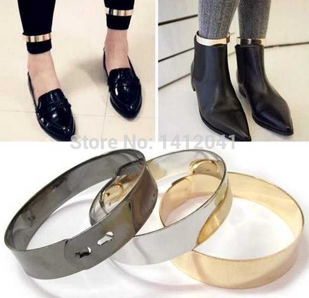 FD445 Fashion Fine Gold Metallic Mirror Metal Wrist Ankle Leg Foot Cuff Bracelet Bangle 2PCs