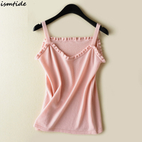 2018 Summer Sexy Square Neck Ruffle Pink Tank Tops Camis Women Knitted Tank Tops Women Loose