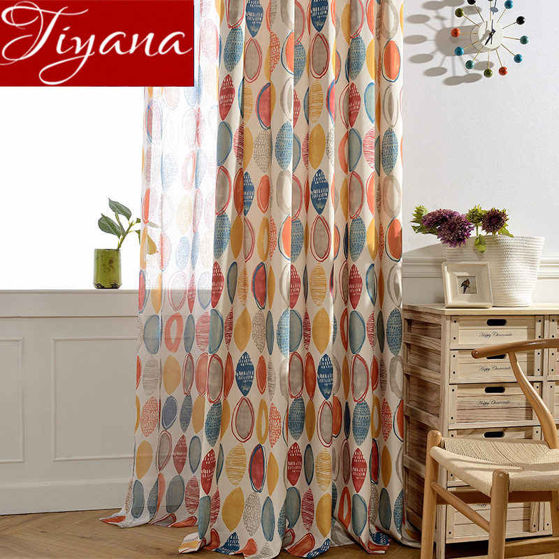 Colorful Curtains for Living Room Geometric Print Tulle Curtain Window Bedroom Treatment Kitchen Sheer Fabrics Drapes T&090 #30