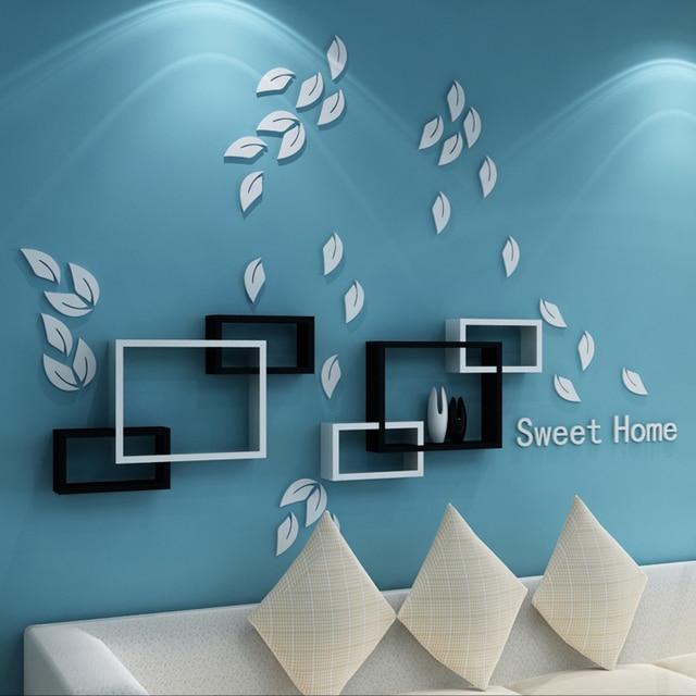 kreatif tiga dimensi stiker dinding, daun dekorasi dinding diy tv