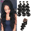 8A Malaysian Body Wave With Closure Virgin Maylasian Hair Bundles With Closures Closed 1b 3 Part Weave Human Weave With Closure