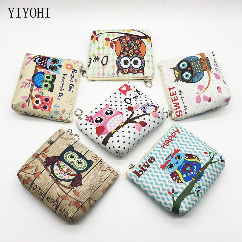 Animal Owl Coin Purse Women Cute Cartoon Print Mini Wallet Bag Letters Zipper Change Pouch Bag Portafoglio Donna Fumetto 11*9cm