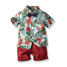 Baby Boy clothing printed Shirt Red Shorts 2 pcs/set 1-2-3-4-5-6 years Kids Clothes Suits Children Boys Clothes Sets