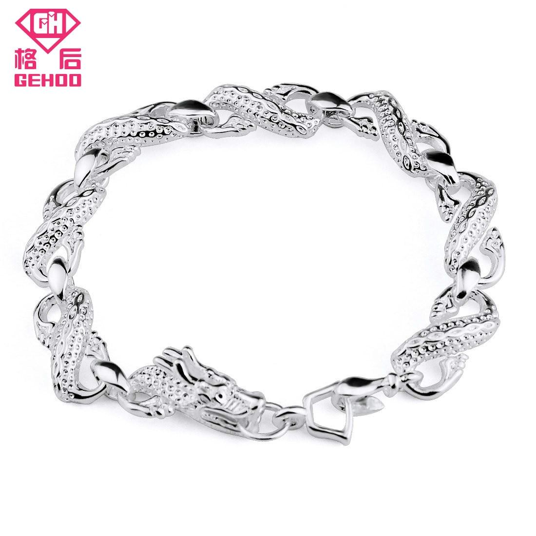 Gehoo Fashion Jewelry Silver Plated Bracelet Chinese White Dragon Bracelet Pattern Men S Jewelry