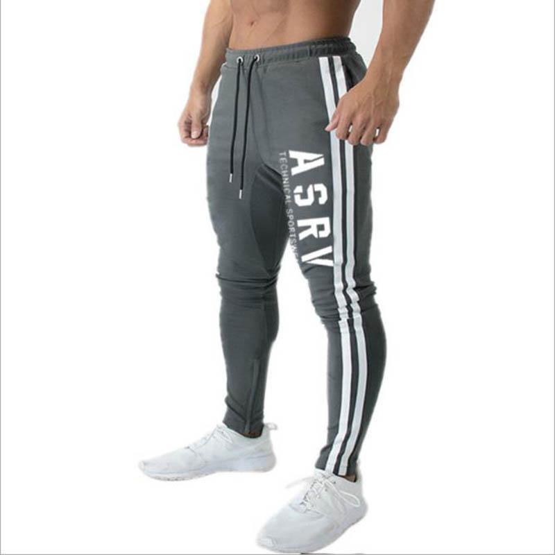 Spring New Men's Pants Fashion Fitness Casual Sweatpants Joggers Pants Men Zipper Black Sweatpants Striped Trousers Plus Size
