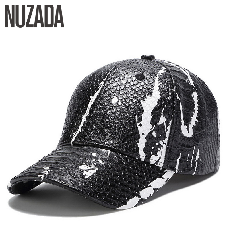 Brand NUZADA PU Leather Spring Summer Autumn Men Women Couple Baseball Cap Street Cool Style Caps Hats Bone Snapback brand nuzada classic solid color baseball cap for men women couple bone high quality cotton hip hop caps spring summer hats