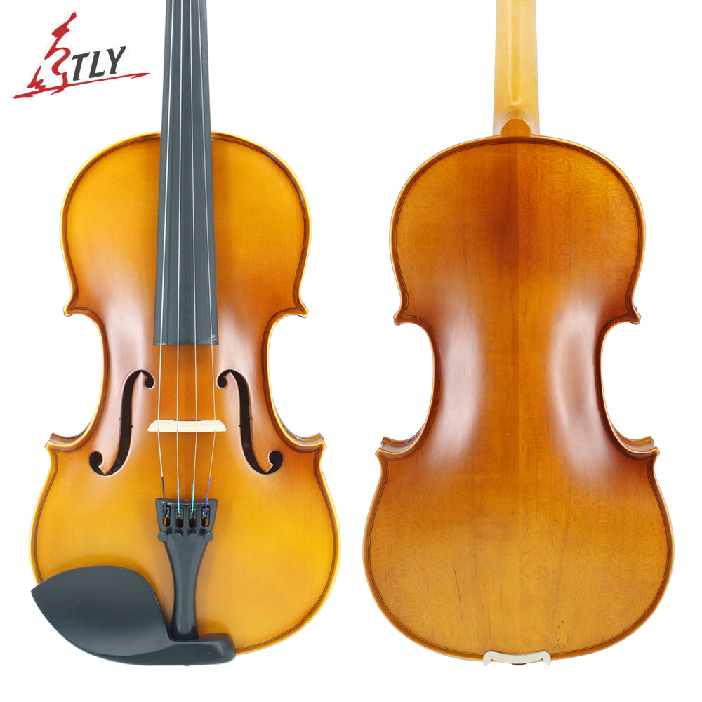 TLY Handmade Matte Acoustic Maple Violin Full Size Beginner Violin w/ Case Bow Rosin Mute Strings tongling full size natural flamed maple hand craft advanced violin spuce face ebony fitted w case bow rosin mute