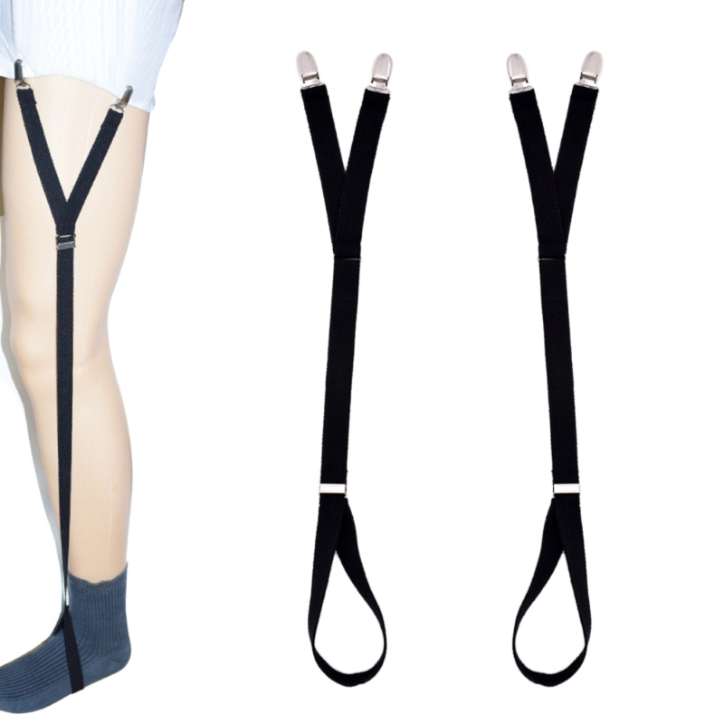 2Pcs/Set Y Style Elastic Leg Suspender Strap Shirt Stays Slip-on Locking Clamps