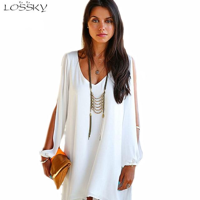 Summer Dress 017 casual Plus Size Women Clothing Long sleeve solid color Chiffon V Dress Vestidos Beach Dress Loose neck dress