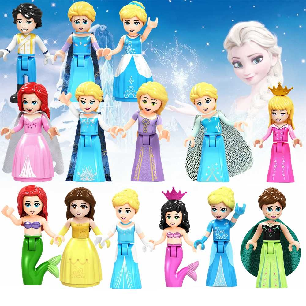 Legoing Friends For Girls Movie Princess Figures Kids Toys Snow White Belle Elsa Ariel Cinderella Legoings Friend Figurine Dolls