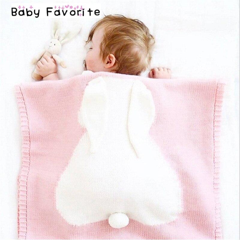 Pink Yellow Winter Baby Blanket  Warm Crochet Handmade Soft Wool Rabbit Baby Newborn Blankets Swaddle Wrap Bath Towels BC-2