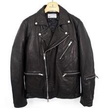 Vintage 2019 winter man's genuine pakistan sheepskin leather motorcycle biker coat male jacket with cotton padded black