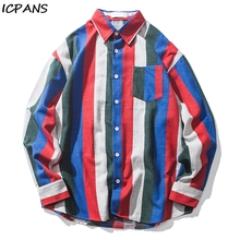 ICPANS Striped Mens Shirts Long Sleeve 2018 Autumn Turn-down Collar  Front Pocket Casual Men 2 Colors