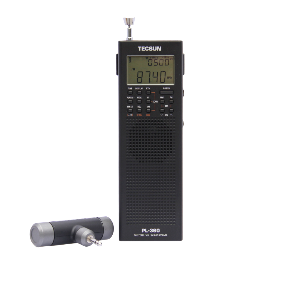 PL360 PLL World Band DSP Radio station receiver with ETM AM FM SW LW TECSUN PL-360 Black Silver Available built-in speaker dhl 1w 7w lcd cze 7c power stereo pll fm radio broadcast station transmitter jf1108