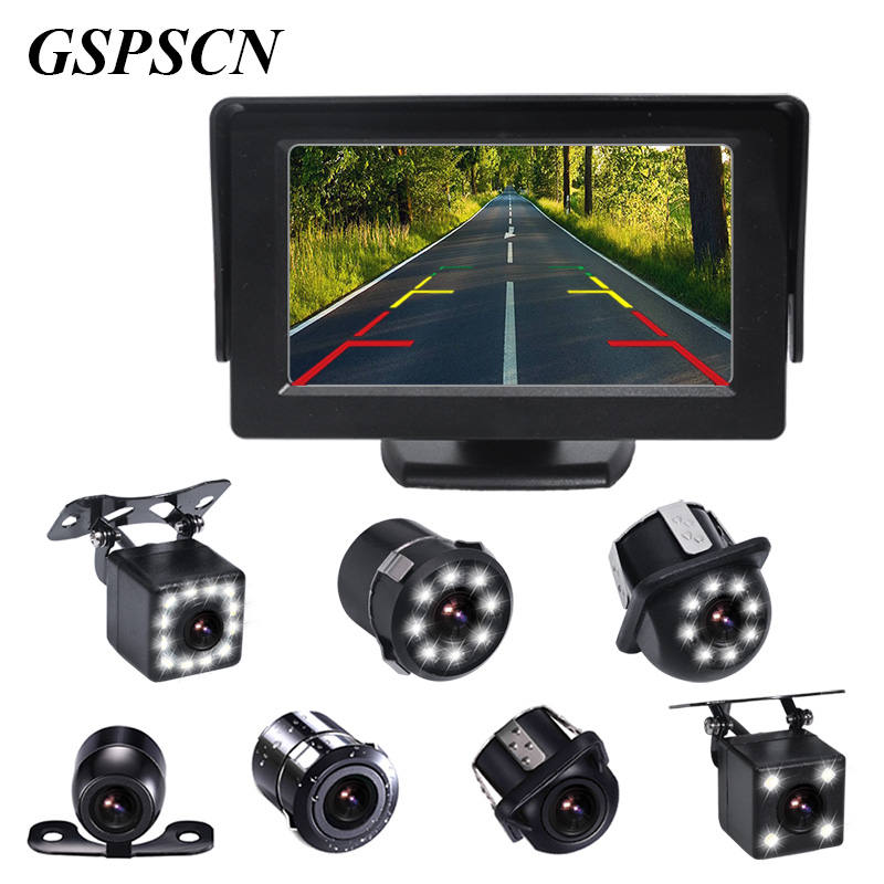 GSPSCN 4.3inch Car HD Monitor With Night Vision Rear View Camera Kit Auto Parking Backup Reverse Monitor TFT LCD Display Color