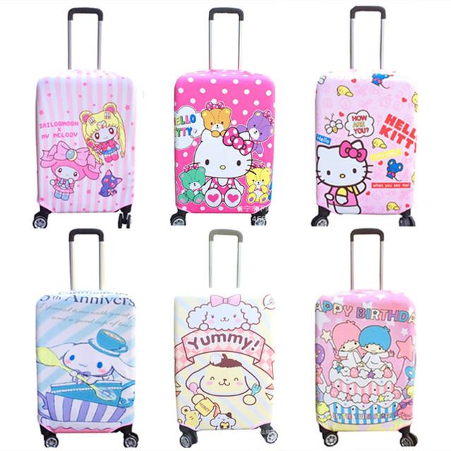 eea6b2bed47c Cute Cartoon Hello Kitty Sailor Moon My Melody Travel Luggage Cover  Protector Elastic Trolley Baggage Suitcase