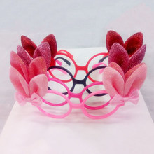 ee467a636a 1 Pc Adorable Bowknots Glitter Bunny Ears Funny Glasses Frames Easter  Costume Accessory Novelty Sunglasses Party