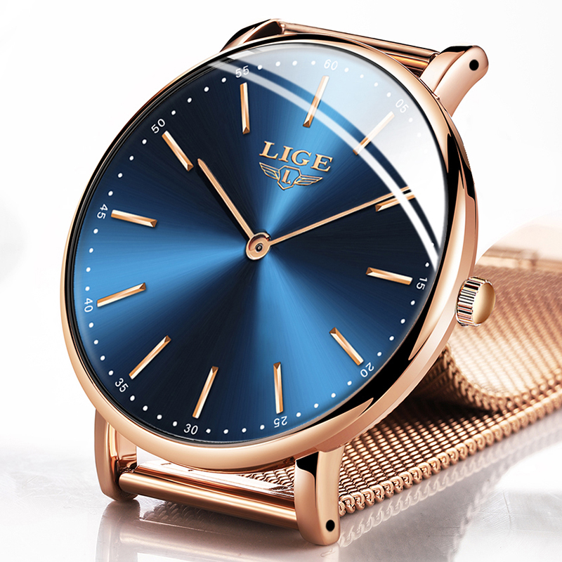 LIGE New Mens Watches Top Brand Luxury Fashion Ultra Thin Quartz Clock Business Waterproof Gift Gold Watch Men Relogio Masculino