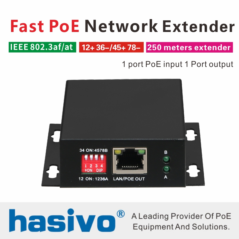 PoE Network Ethernet Switch PoE Extender 250 Meters PoE Network Extender With 1 Port 10/100M PoE