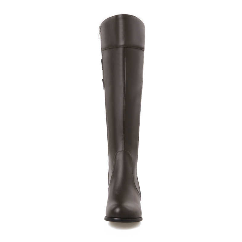 2018 kış kürk sıcak diz yüksek çizmeler kadın kalın yüksek topuklu uzun çizmeler moda fermuar yuvarlak ayak ayakkabı kadın beyaz siyah kırmızı