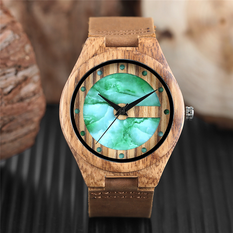 Men's Watch Vogue Letter C Shape Fresh Green Chic White Marble Dial Watch Men Clock Man Bamboo Wooden Sports Quartz Wristwatches