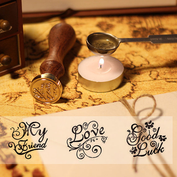 Six pattern Sealing Wax Stamp Thank you stamp/ love/for you/good luck/miss you/my friend image