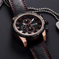 2018 New Fashion Blue Gold Watch Men Quartz Brown Leather Band Mens Watches Top Brand Luxury Waterproof Sport Watch
