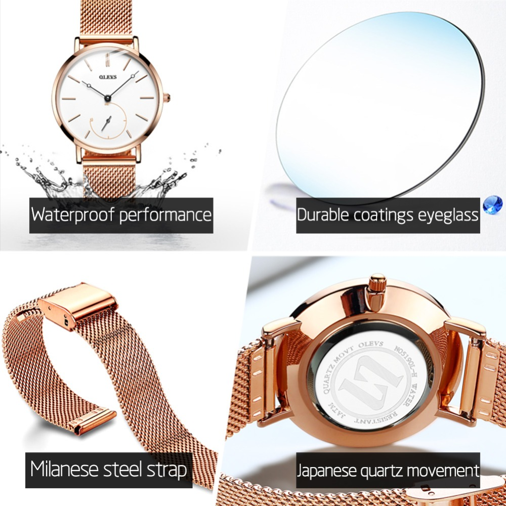 Dropshipping Fashion Black Mesh Quartz Watch Women Metal Stainless Steel Dress Watches Leather Watch Relogio Feminino Gift Clock Long Performance Life Women's Watches