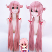 New The Future Diary Yuno Gasai 100cm Long Pink Straight Anime Cosplay Wig Mirai Nikki Cheap Synthetic Hair Wigs
