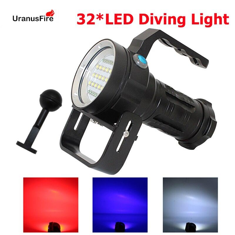 32*L2 LED Diving Flashlight Underwater Photography Video Light XML2 LED Powerful Scuba Diving Flashlight 18650 Battery Torch