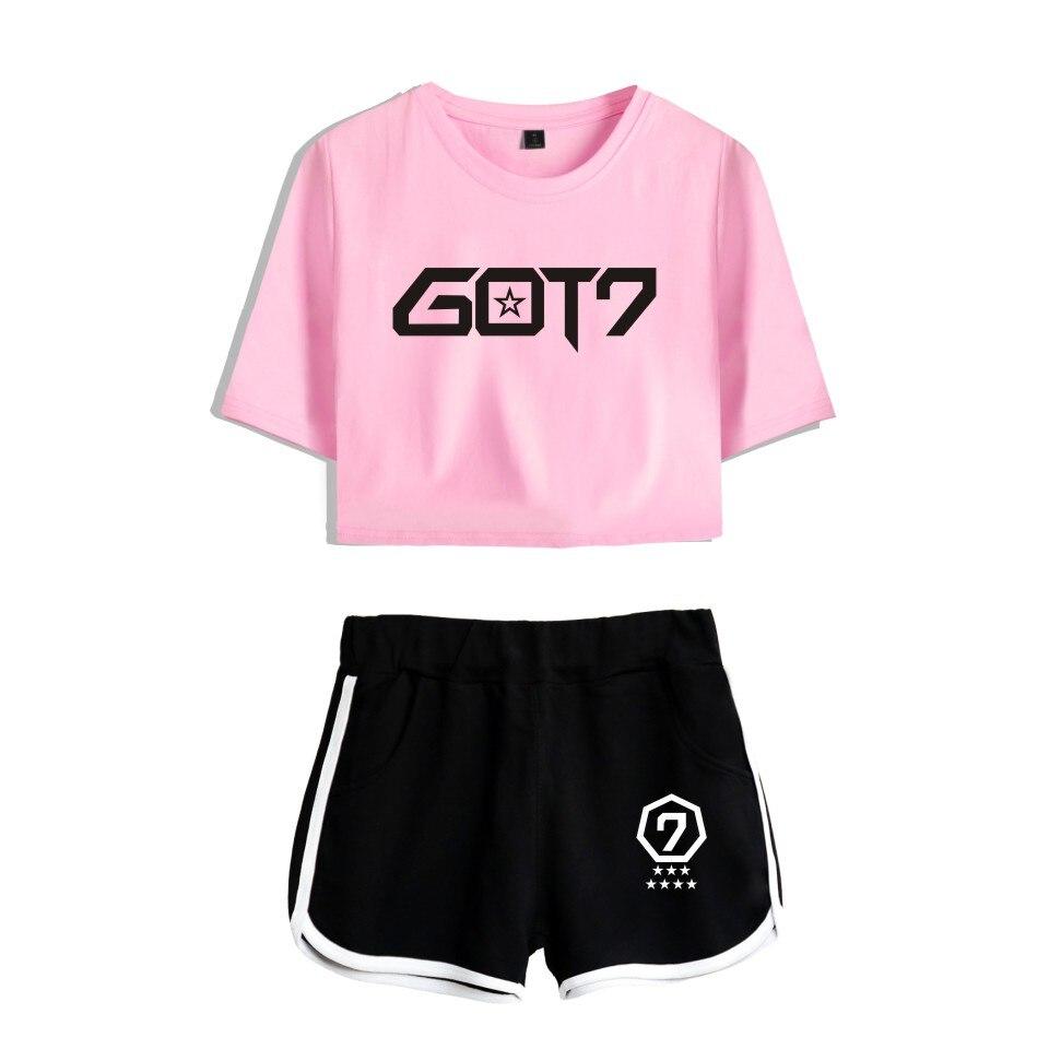 NEW KPOP Hot GOT7 Two Piece Set Summer Sexy Cotton Printed T shirt Album Woman Suit Shorts Crop Got7 Fashion Tops+Shorts Pants thumbnail