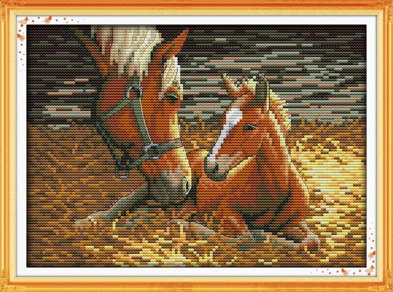 Home Decration Horse Deep love of mother and son 2 DIY Needlework Cross Stitch Kits for Embroidery Knitting Needles Crafts