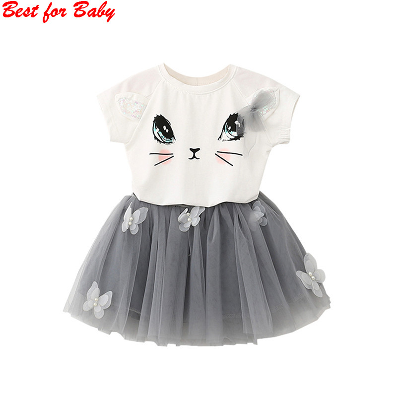 Summer Cute Cat T-Shirts+Net Veil Tutu Skirt  Baby Short Sleeve Cartoon Kitten Printed Girls Clothing 2pcs skirt set 2016 wholesale baby girls cartoon short sleeve tops lace cute tutu skirt for 0 4y baby girl