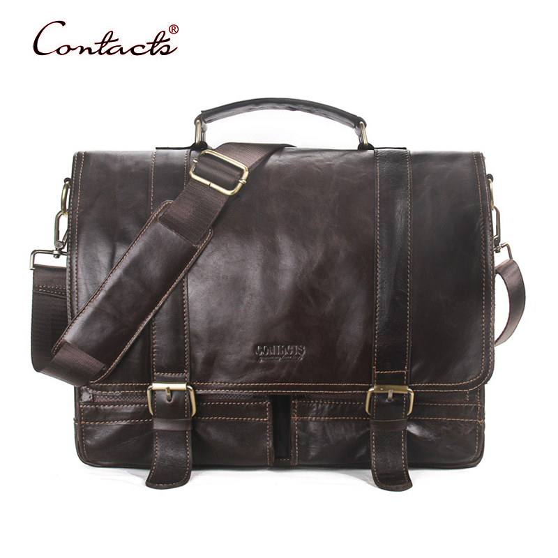 CONTACT'S Men Retro Briefcase Business Shoulder Male Bag Tote Genuine Leather Handbags Messenger Crossbody Bags 2017 New Design business men briefcase handbags genuine leather men bag messenger bags shoulder crossbody bags leather laptop bag male