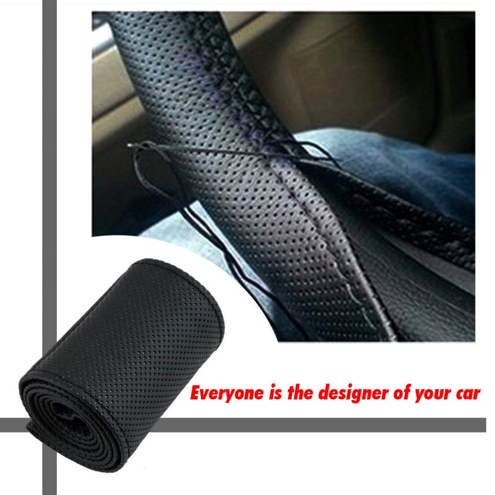 DIY Car Steering Wheel Cover Fiber Leather with Needle Braid on Steering Wheel SkidProof 36 38cm Car Styling Interior accessorie|Steering Covers| |  - title=