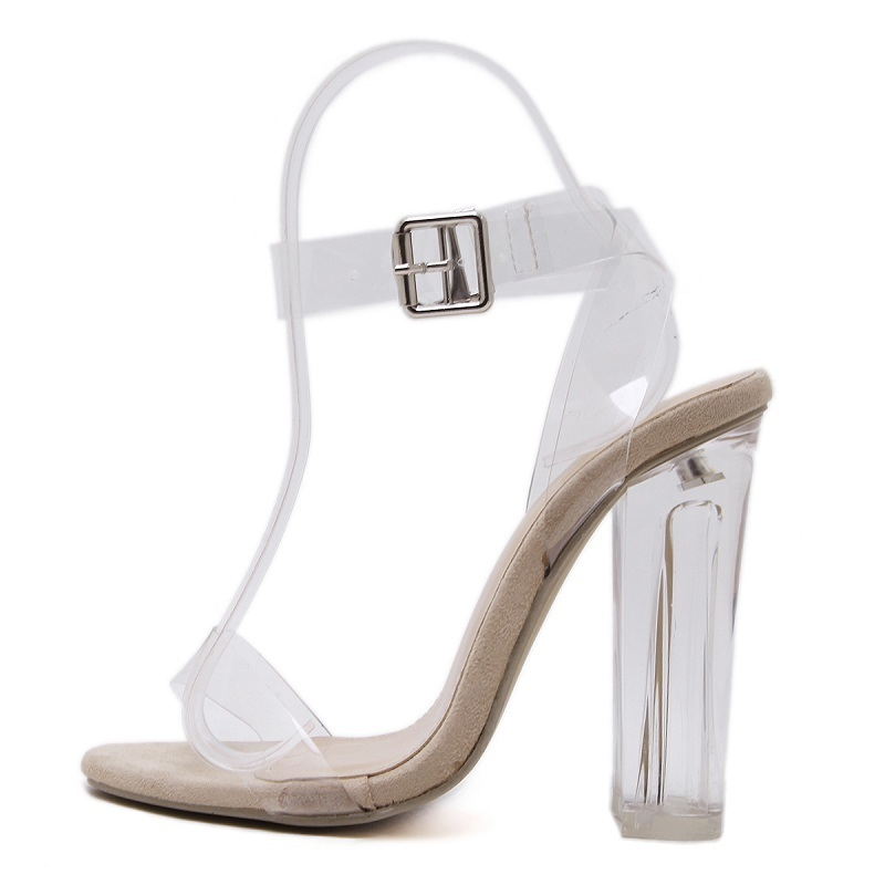 Women gladiator sandals ladies pumps thick high heels shoes woman Crystal Clear Transparent ankle strap party wedding shoes new women gladiator sandals ladies pumps high heels shoes woman clear transparent t strap party wedding dress thick crystal heel