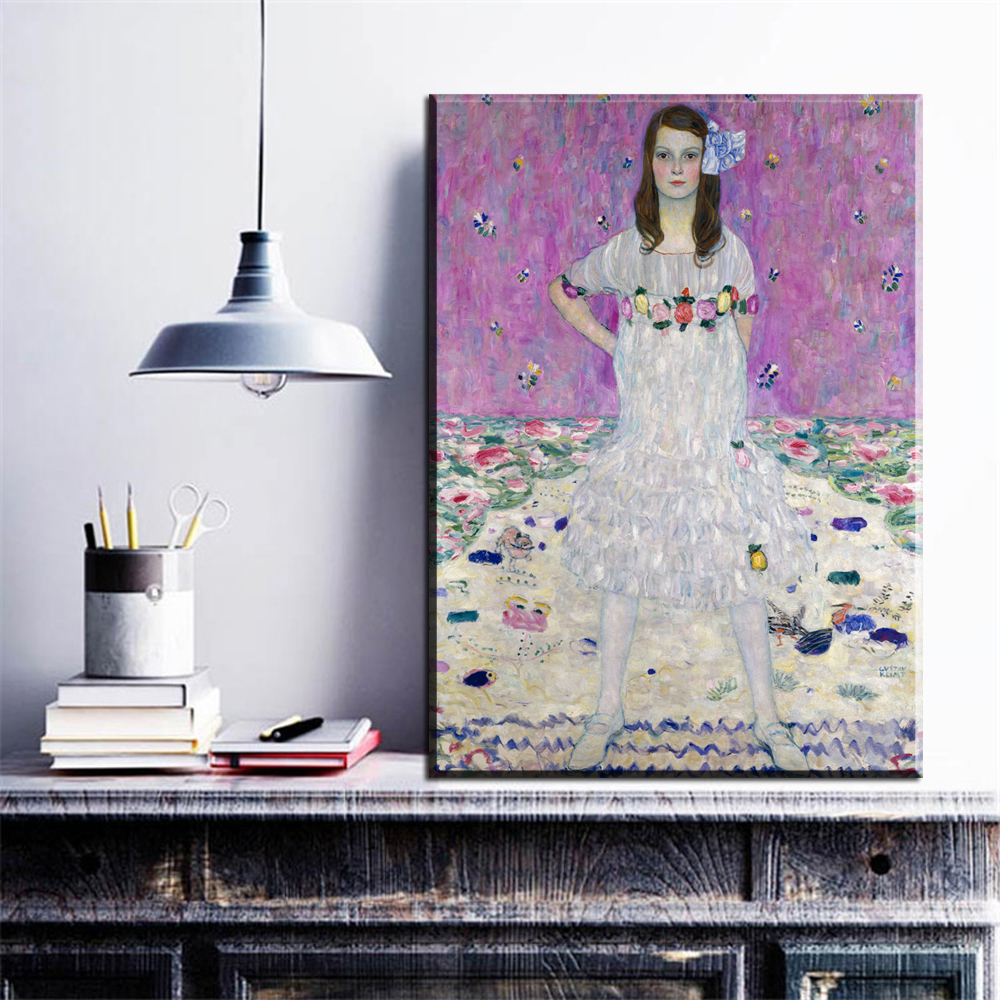 ZZ763 beautiful canvas posters and prints art gustav klimt beautiful women canvas portrait oil art painting for home decoration