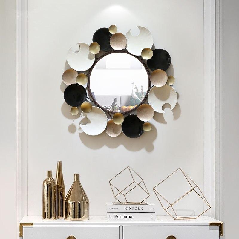 Espejo decorativo de hierro forjado de vals para colgar en la pared espejo artesanías porche casa sala de estar pegatina Mural accesorios R2127
