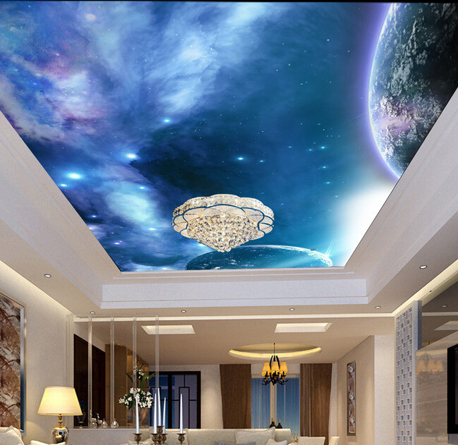 Custom papel DE parede 3 d, the universe star and planet for the sitting room bedroom ceiling setting wall waterproof wallpaper
