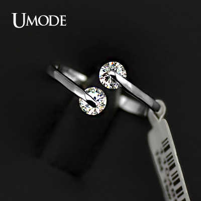 Umode Wit Goud Kleur Fashion Design Twin Zirkoon 0.25ct * 2 Cz Engagement Rings JR0013B