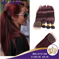 Малайзийские Виргинские Волосы Прямые Бургундия Малайзии Волос Wine Red Wonder Girl Бургундия 99j Прямые Волосы 3 Связки С Закрытием
