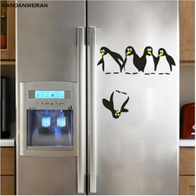 Childrens room can be removed from the penguin Penguin refrigerator WALL STICKER for  BLACK