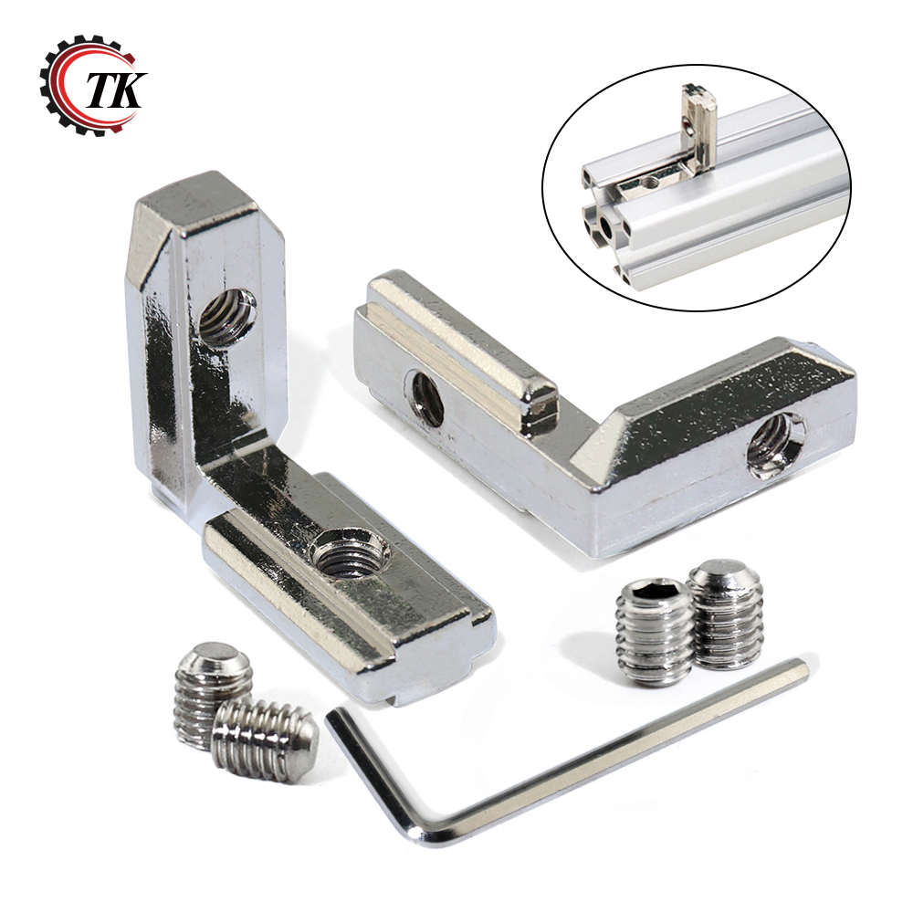 16 sets T Slot L Type 90 Degree Aluminum Profile Accessories Interior Joint Inside Corner Connector Bracket for 3030 series цена