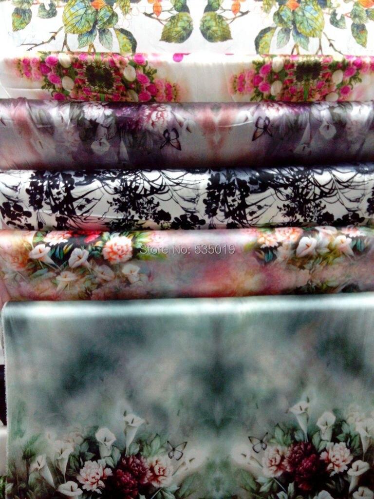 Модные женские супер высокого класса компьютер цифровые принты тяжелый эластичный натуральный шелк ткань зеленые цветы тканые оптом широкие - 2