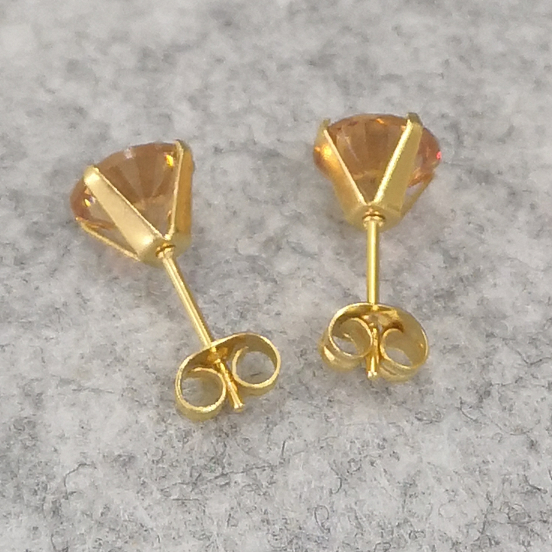 1 Pair Champagne AAA Zircons Stud Earrings From 3mm to 8mm 316 L Stainless Steel Real Golden Plated No Easy Fade Allergy Free in Stud Earrings from Jewelry Accessories