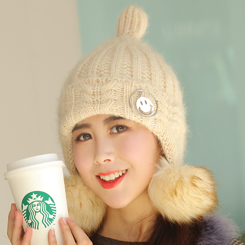 60168f91b12 Aliexpress.com   Buy 2018 New Knitted Woolen Women s Hats Fashion Pompom  Hairball Warm Ear A Cap Nipple Type Winter Student Mask Of The Skull from  Reliable ...