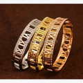 Stainless steel crystal roman numerals bracelet women, fashion charms gold plated bangle best friends gifts brazalete jewelry