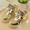 1 par spirng outono da menina do miúdo da menina das crianças pu shoes olá kitty moda light sport shoes 3 cores 21-30
