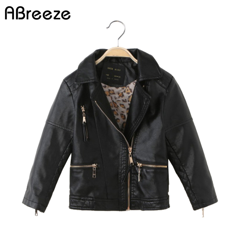 все цены на Children boys 2018 New Design Spring Autumn PU Leather Jacket Faux Soft Leather Coat Slim Black Rivet Zipper Motorcycle Jackets